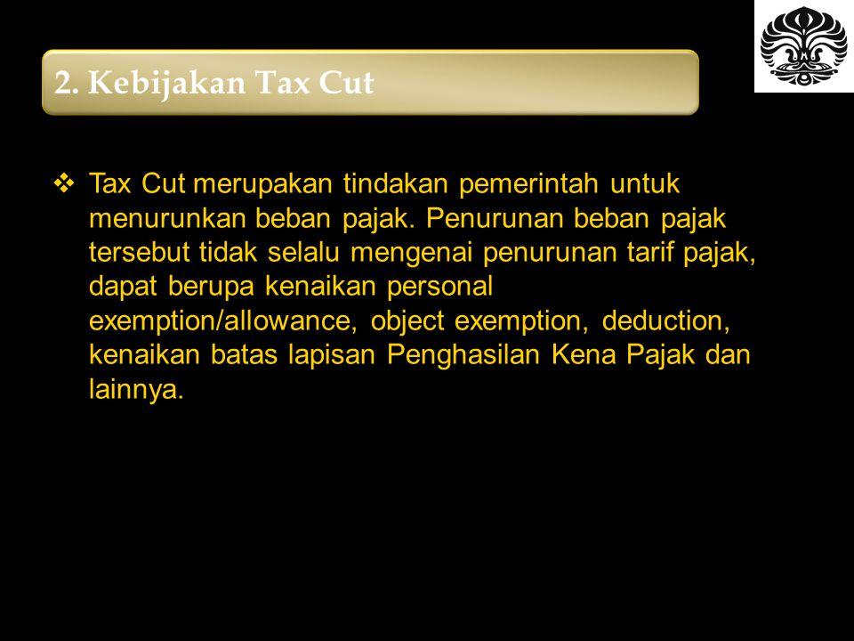 2.Kebijakan Tax Cut  Tax Cut merupakan tindakan pemerintah untuk menurunkan beban pajak.