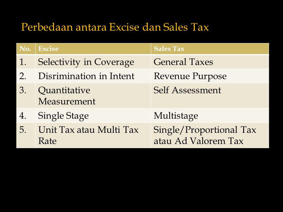 Perbedaan antara Excise dan Sales Tax No.ExciseSales Tax 1.Selectivity in CoverageGeneral Taxes 2.Disrimination in IntentRevenue Purpose 3.Quantitative Measurement Self Assessment 4.Single StageMultistage 5.Unit Tax atau Multi Tax Rate Single/Proportional Tax atau Ad Valorem Tax