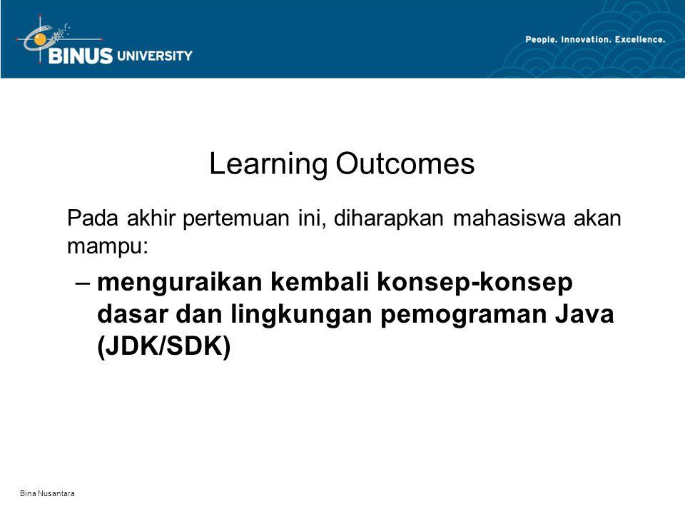 Bina Nusantara Outline Materi Data Type in Java Statement in Java (Looping and Selection) Array Class Editor Java Programming