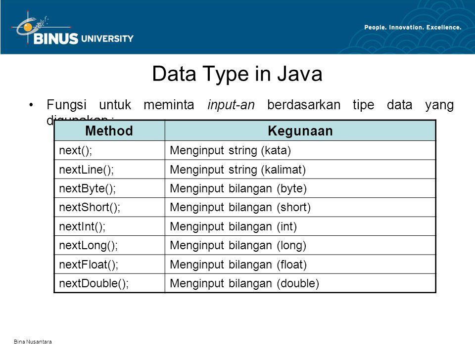 Bina Nusantara Data Type in Java Type Casting : Operasi konversi nilai antar tipe data yang berbeda.