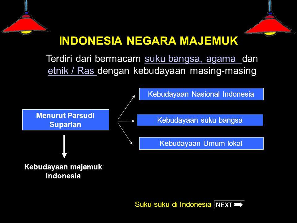 INDONESIA NEGARA MAJEMUK Terdiri dari bermacam suku bangsa, agama dan etnik / Ras dengan kebudayaan masing-masingsuku bangsa, agama etnik / Ras Menuru