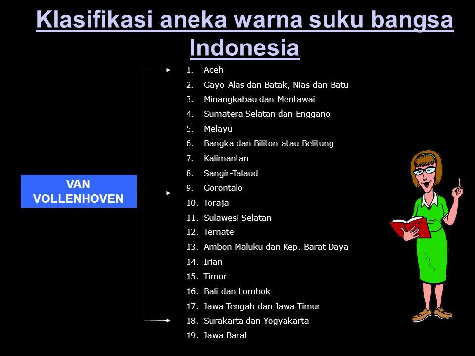Klasifikasi aneka warna suku bangsa Indonesia VAN VOLLENHOVEN 1.Aceh 2.Gayo-Alas dan Batak, Nias dan Batu 3.Minangkabau dan Mentawai 4.Sumatera Selata