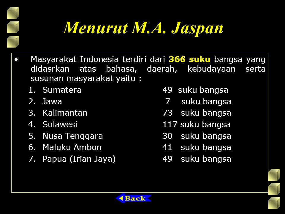 Menurut M.A. Jaspan Masyarakat Indonesia terdiri dari 366 suku bangsa yang didasrkan atas bahasa, daerah, kebudayaan serta susunan masyarakat yaitu :