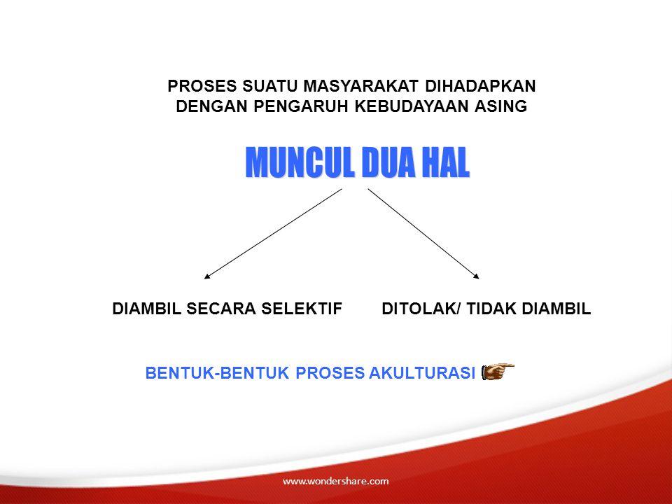 www.wondershare.com PROSES SUATU MASYARAKAT DIHADAPKAN DENGAN PENGARUH KEBUDAYAAN ASING DIAMBIL SECARA SELEKTIFDITOLAK/ TIDAK DIAMBIL BENTUK-BENTUK PR