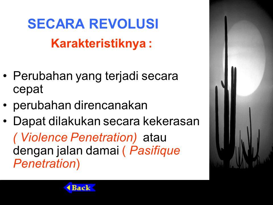 SECARA REVOLUSI Karakteristiknya : Perubahan yang terjadi secara cepat perubahan direncanakan Dapat dilakukan secara kekerasan ( Violence Penetration)