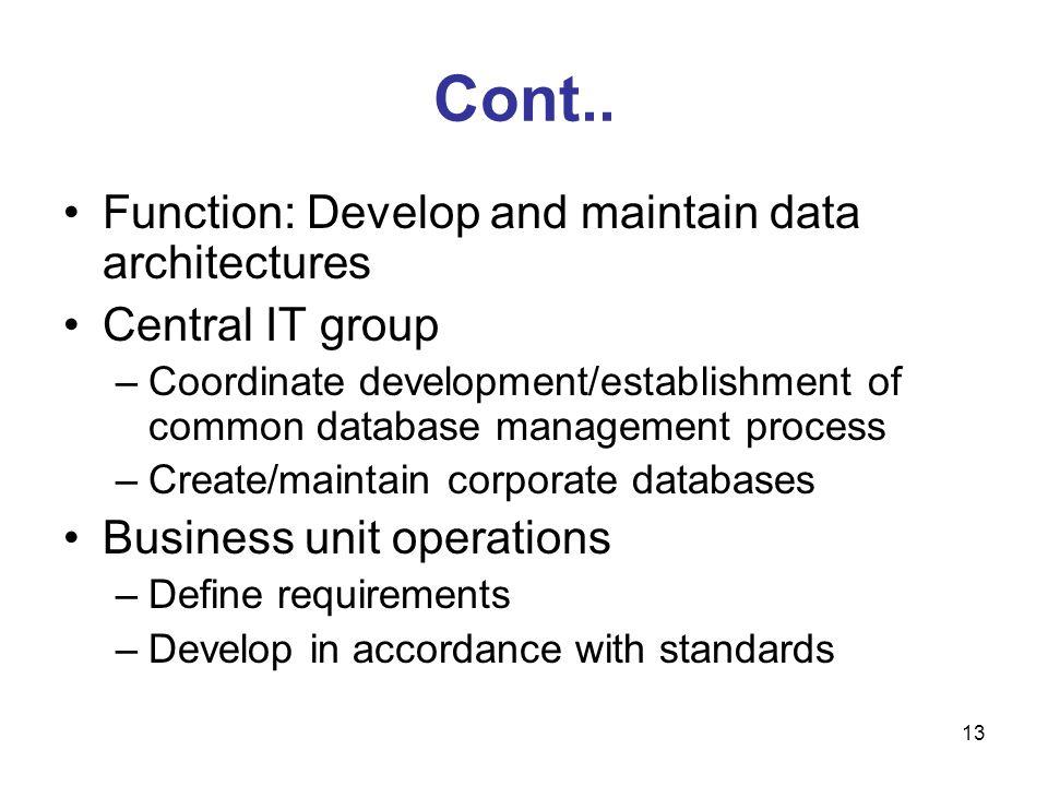 13 Cont.. Function: Develop and maintain data architectures Central IT group –Coordinate development/establishment of common database management proce