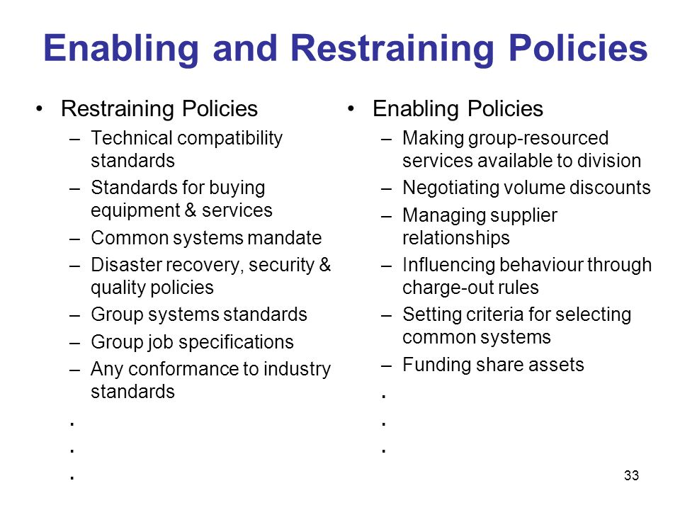 33 Enabling and Restraining Policies Restraining Policies –Technical compatibility standards –Standards for buying equipment & services –Common system