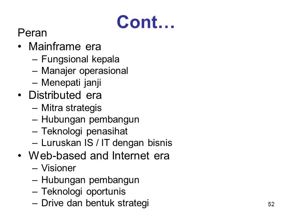 52 Cont… Peran Mainframe era –Fungsional kepala –Manajer operasional –Menepati janji Distributed era –Mitra strategis –Hubungan pembangun –Teknologi p