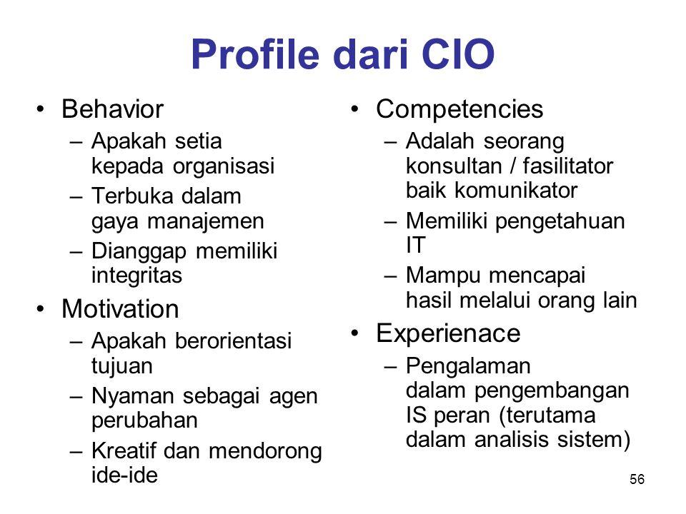 56 Profile dari CIO Behavior –Apakah setia kepada organisasi –Terbuka dalam gaya manajemen –Dianggap memiliki integritas Motivation –Apakah berorienta