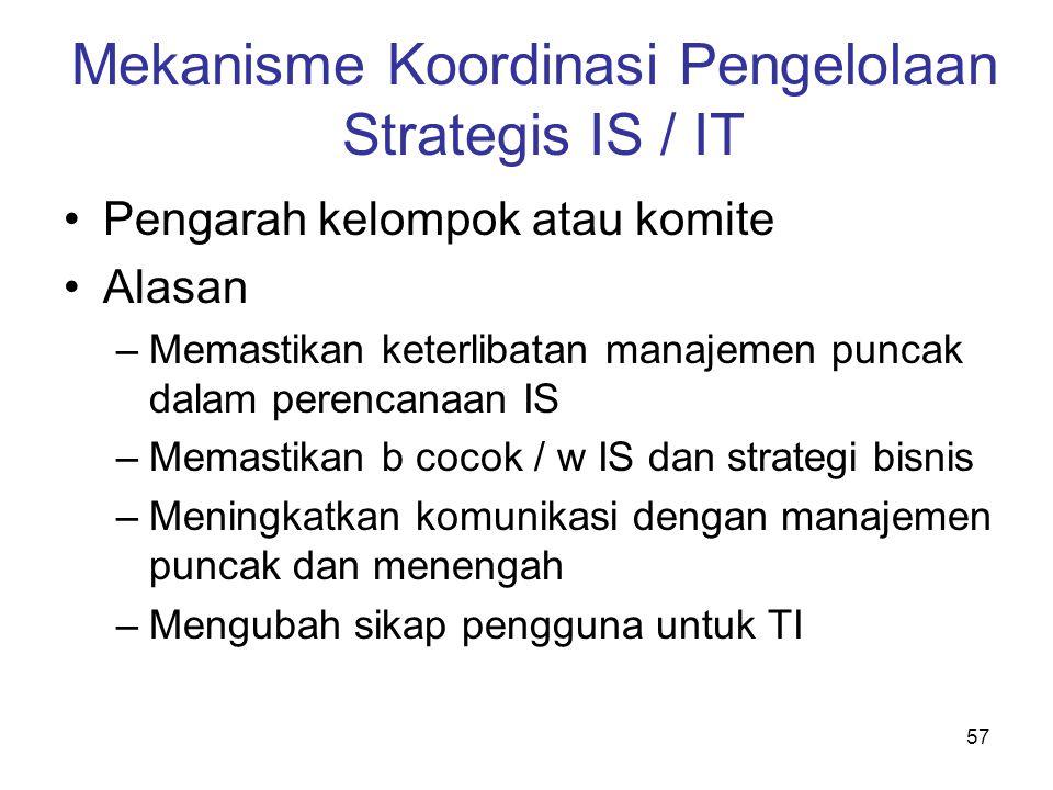 57 Mekanisme Koordinasi Pengelolaan Strategis IS / IT Pengarah kelompok atau komite Alasan –Memastikan keterlibatan manajemen puncak dalam perencanaan