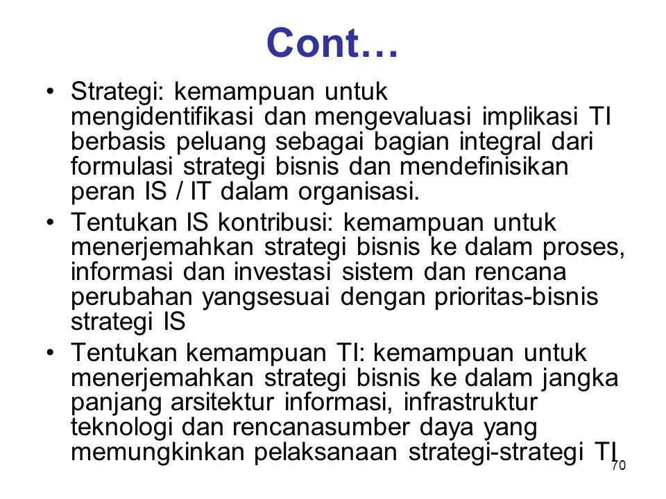 70 Cont… Strategi: kemampuan untuk mengidentifikasi dan mengevaluasi implikasi TI berbasis peluang sebagai bagian integral dari formulasi strategi bis