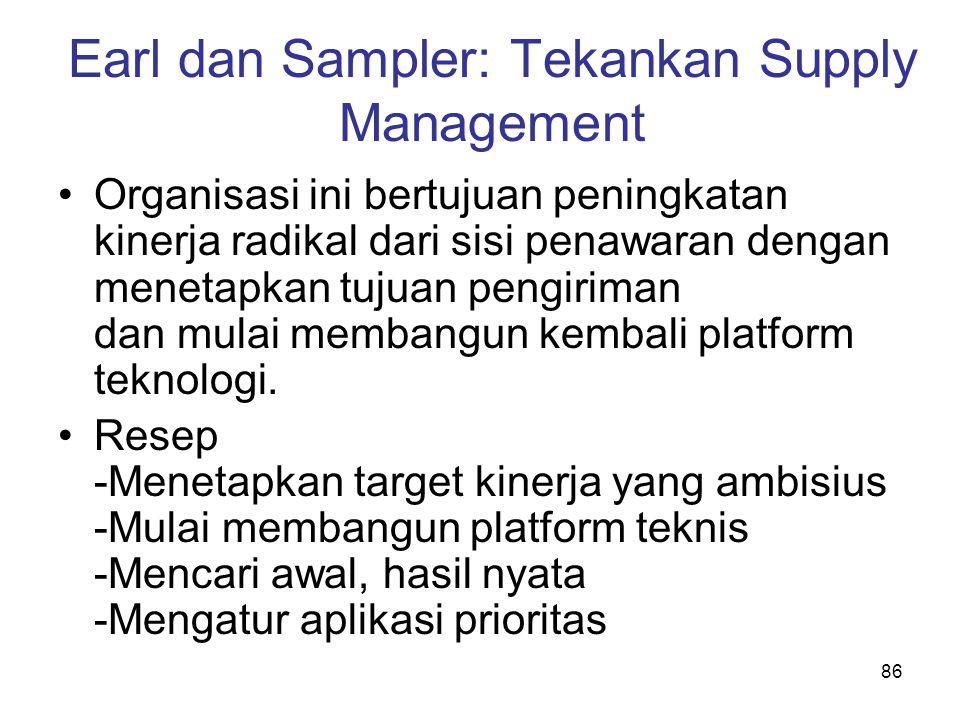 86 Earl dan Sampler: Tekankan Supply Management Organisasi ini bertujuan peningkatan kinerja radikal dari sisi penawaran dengan menetapkan tujuan peng