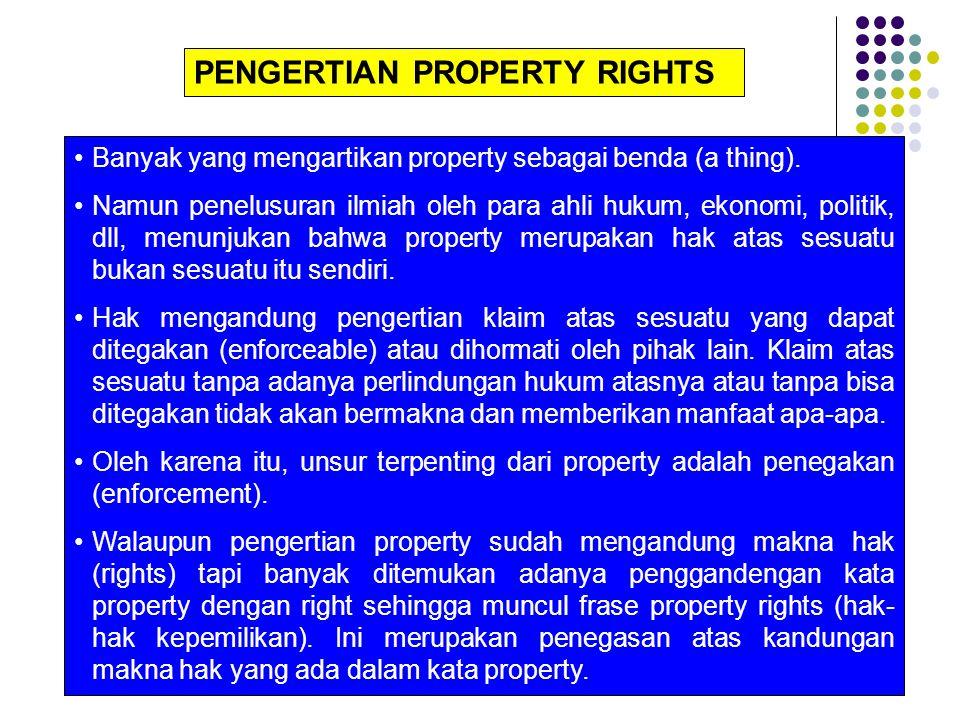 Karena property merupakan hak yang harus ditegakan/ dihormati oleh pihak lain, maka property merupakan institusi/lembaga/aturan main, yang dalam penegakannya memerlukan badan/lembaga yang berwenang menjamin tegaknya hak-hak tersebut.