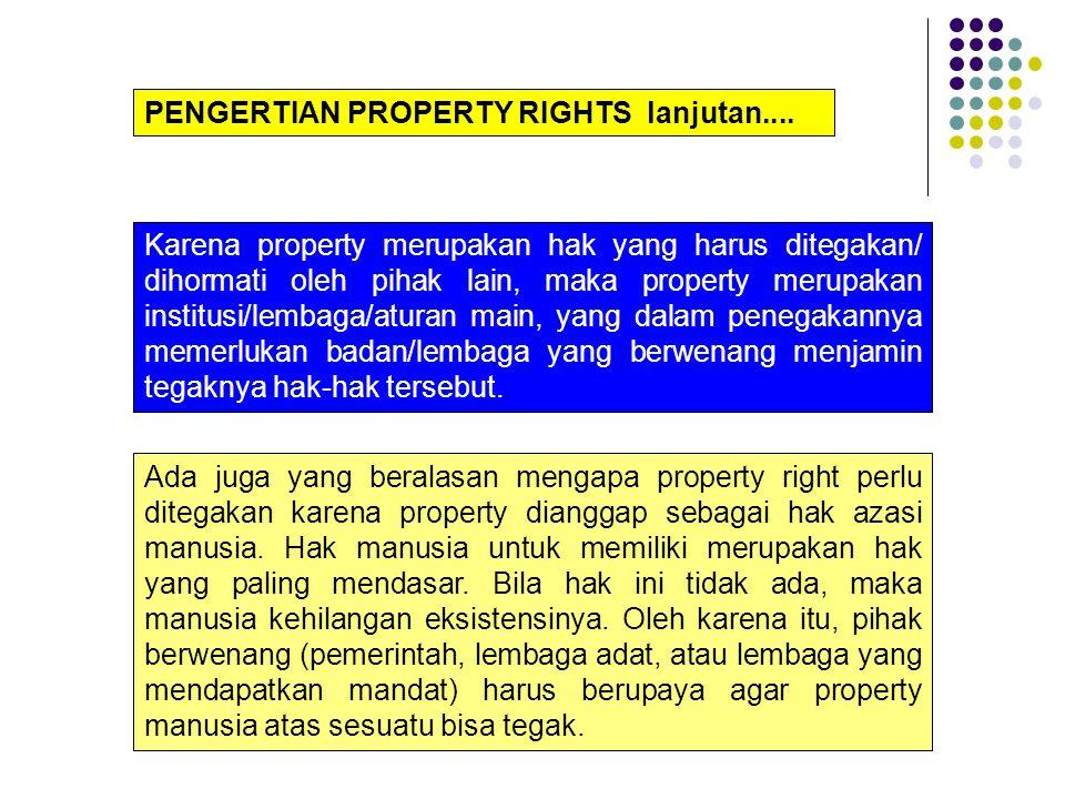 Property rights atau hak kepemilikan atas sesuatu mengandung pengertian hak untuk mengakses, memanfaatkan (utilize), mengelola atas sesuatu, mengubah atau mentransfer sebagian atau seluruh hak atas sesuatu tersebut pada pihak lain.