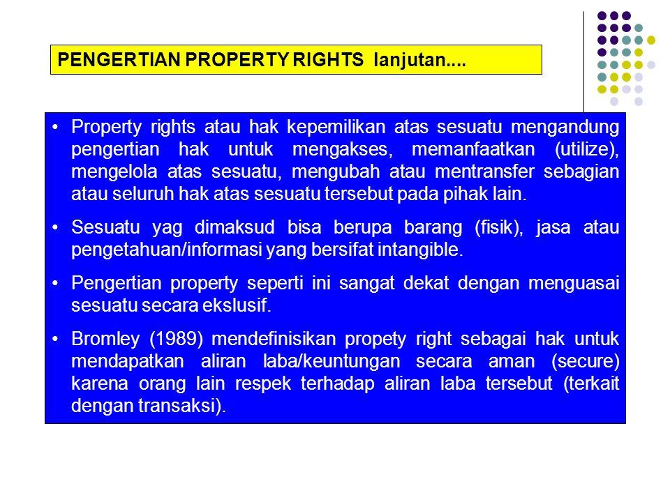 Dari penjelasan di atas, property right merupakan klaim seseorang secara ekslusif atas sesuatu untuk memanfaatkan (utilize), mengelola atas sesuatu, mengubah atau mentransfer sebagian atau seluruh hak tersebut.