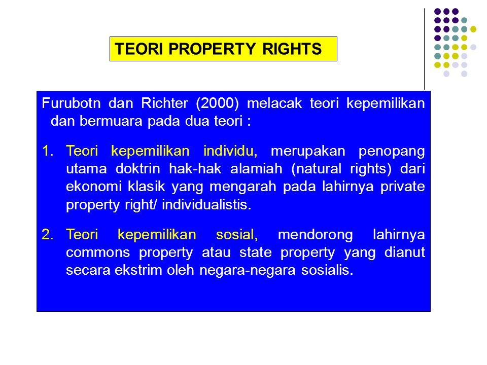 TEORI PROPERTY RIGHTS Furubotn dan Richter (2000) melacak teori kepemilikan dan bermuara pada dua teori : 1.Teori kepemilikan individu, merupakan peno