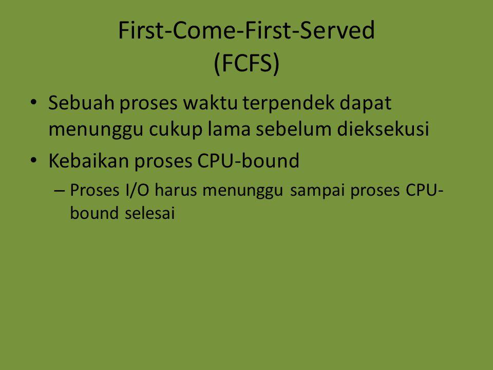 First-Come-First-Served (FCFS) Sebuah proses waktu terpendek dapat menunggu cukup lama sebelum dieksekusi Kebaikan proses CPU-bound – Proses I/O harus