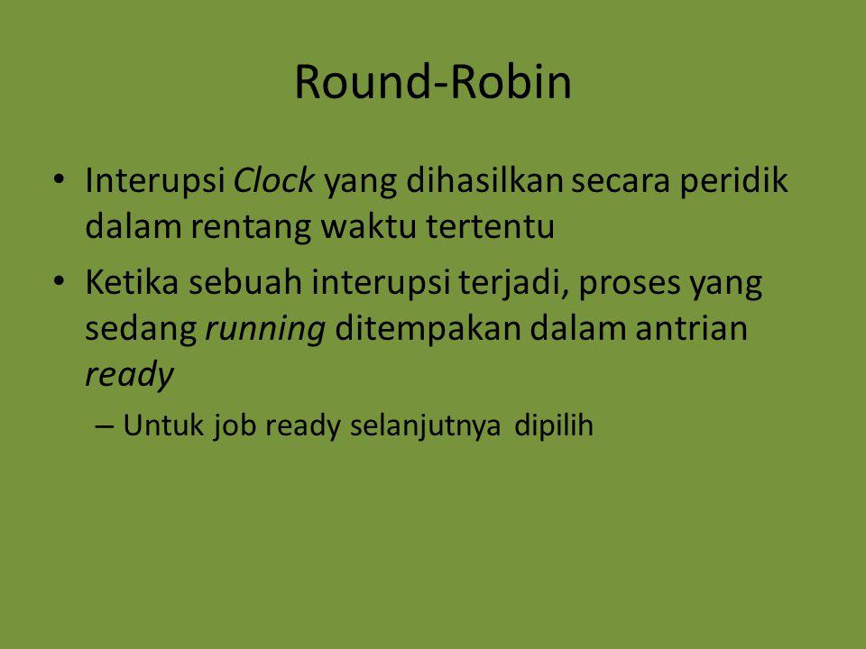 Round-Robin Interupsi Clock yang dihasilkan secara peridik dalam rentang waktu tertentu Ketika sebuah interupsi terjadi, proses yang sedang running di