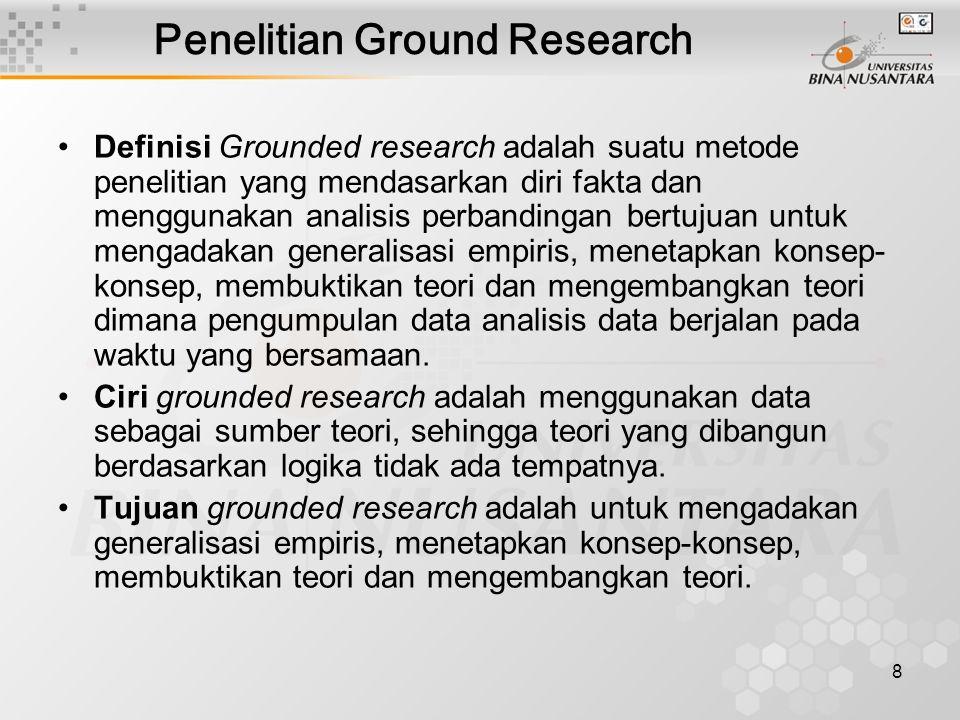 9 Penelitian Tindakan Definisi penelitian tindakan: adalah penelitian yang dikembangkan bersama-sama antara peneliti dan decision maker tentang variabel-variabel yang dapat dimanipulasi dan dapat digunakan untuk menentukan kebijakan dan pembangunan.
