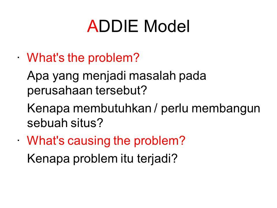 ADDIE Model · What's the problem? Apa yang menjadi masalah pada perusahaan tersebut? Kenapa membutuhkan / perlu membangun sebuah situs? · What's causi