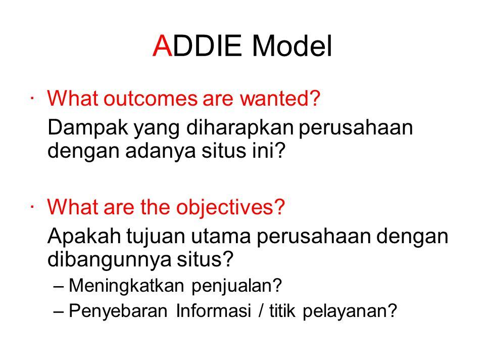 ADDIE Model · What outcomes are wanted? Dampak yang diharapkan perusahaan dengan adanya situs ini? · What are the objectives? Apakah tujuan utama peru