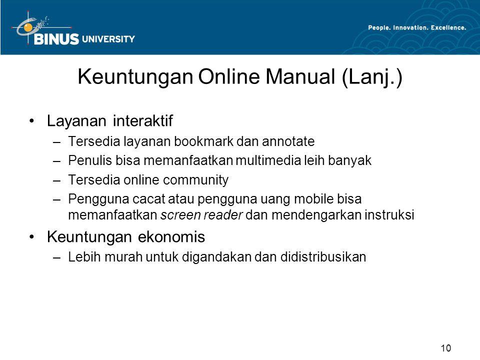 Keuntungan Online Manual (Lanj.) Layanan interaktif –Tersedia layanan bookmark dan annotate –Penulis bisa memanfaatkan multimedia leih banyak –Tersedi