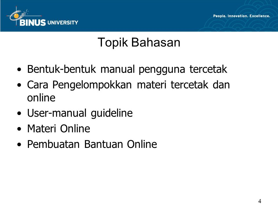 Pembuatan Bantuan Online(Lanj.) Manual Online Reproduksi manual tercetak dalam bentuk online –paper page layouts may not convert well –dealing with figures problematic –attractive if users have large enough display (full page) –close match between printed and online versions useful Ditambah dengan fitur-fitur online khusus  string search  multiple indices  multiple tables of contents  tables of figures  electronic bookmarks  electronic annotations  hypertext traversal  automatic history keeping 15