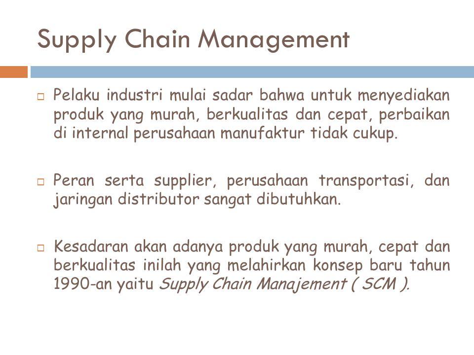 Supply Chain Management  Pelaku industri mulai sadar bahwa untuk menyediakan produk yang murah, berkualitas dan cepat, perbaikan di internal perusaha