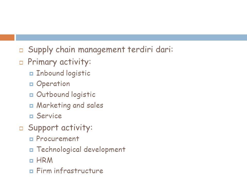 Tujuan SCM  Supply chain management mempunyai dampak terhadap pengendalian biaya  Mencapai efektifitas dan efisiensi mulai dari suppliers, manufacturers, warehouse dan stores.