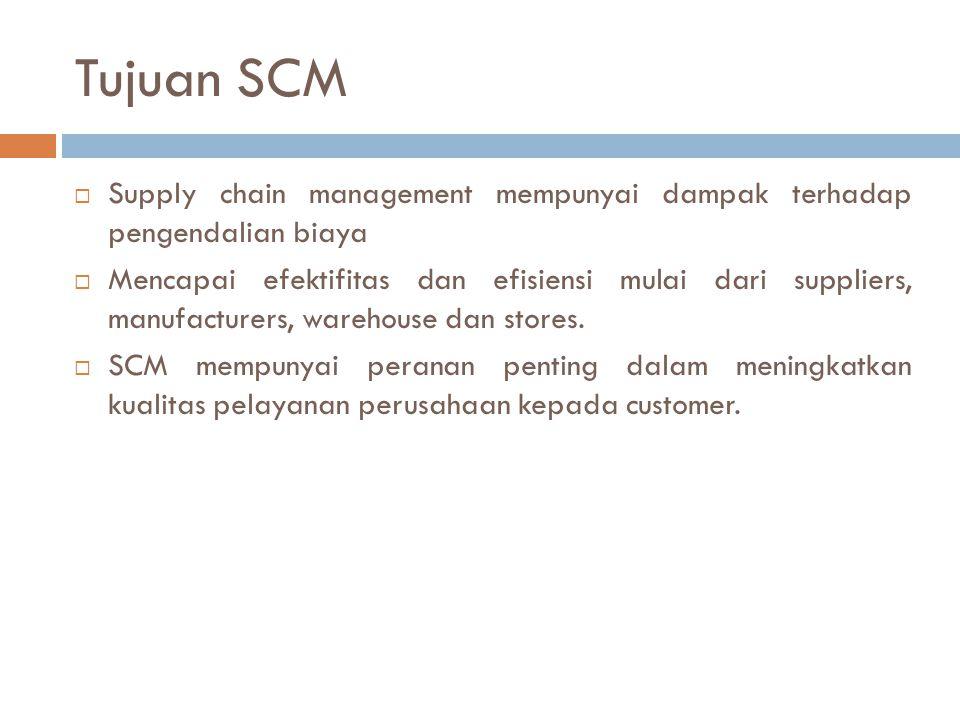 Tujuan SCM  Supply chain management mempunyai dampak terhadap pengendalian biaya  Mencapai efektifitas dan efisiensi mulai dari suppliers, manufactu