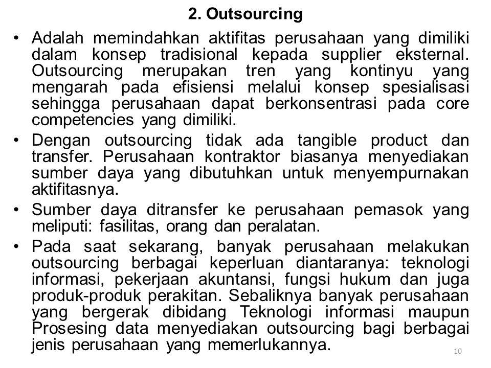 2. Outsourcing Adalah memindahkan aktifitas perusahaan yang dimiliki dalam konsep tradisional kepada supplier eksternal. Outsourcing merupakan tren ya