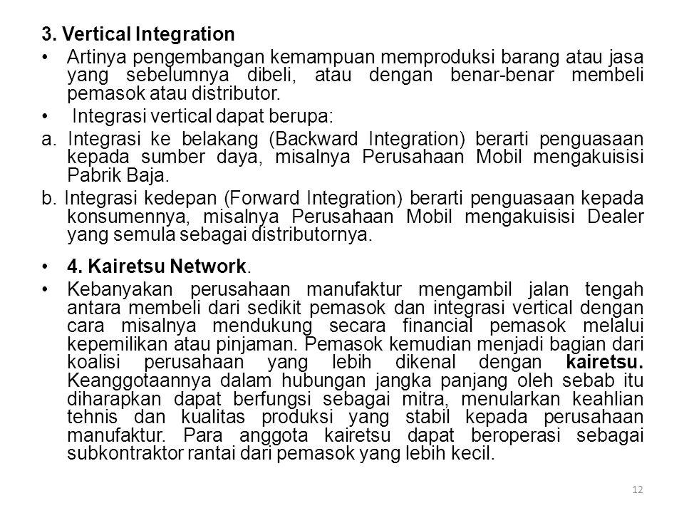 3. Vertical Integration Artinya pengembangan kemampuan memproduksi barang atau jasa yang sebelumnya dibeli, atau dengan benar-benar membeli pemasok at