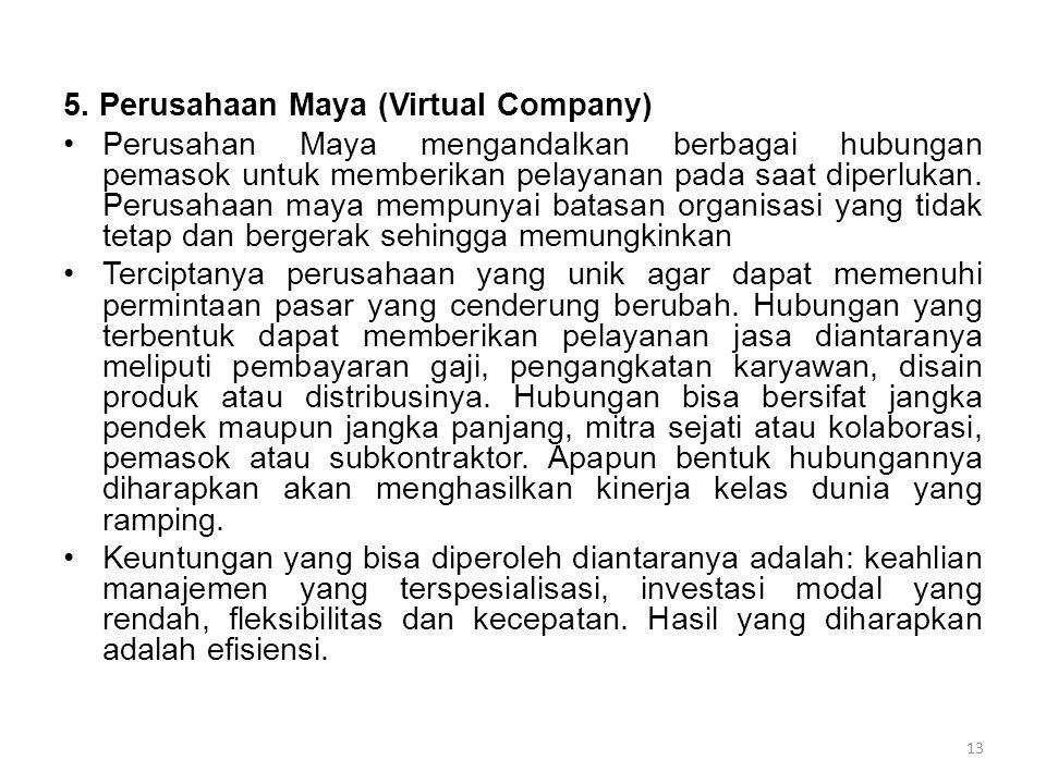 5. Perusahaan Maya (Virtual Company) Perusahan Maya mengandalkan berbagai hubungan pemasok untuk memberikan pelayanan pada saat diperlukan. Perusahaan