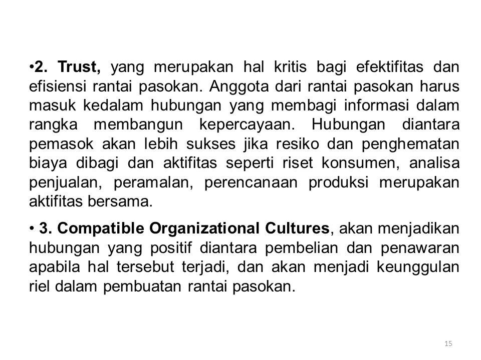 15 2. Trust, yang merupakan hal kritis bagi efektifitas dan efisiensi rantai pasokan. Anggota dari rantai pasokan harus masuk kedalam hubungan yang me