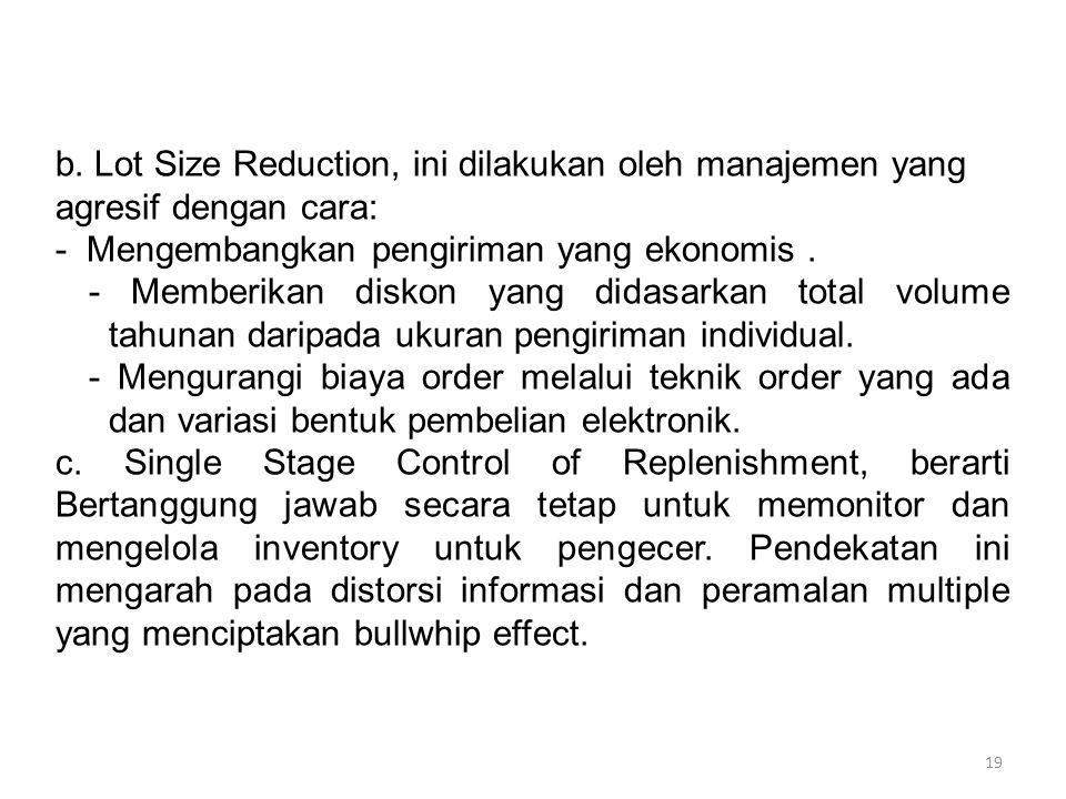 19 b. Lot Size Reduction, ini dilakukan oleh manajemen yang agresif dengan cara: - Mengembangkan pengiriman yang ekonomis. - Memberikan diskon yang di