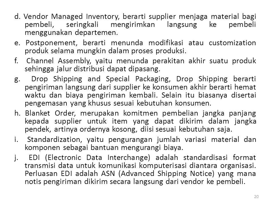 d. Vendor Managed Inventory, berarti supplier menjaga material bagi pembeli, seringkali mengirimkan langsung ke pembeli menggunakan departemen. e. Pos