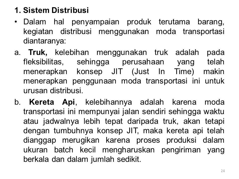 1. Sistem Distribusi Dalam hal penyampaian produk terutama barang, kegiatan distribusi menggunakan moda transportasi diantaranya: a. Truk, kelebihan m