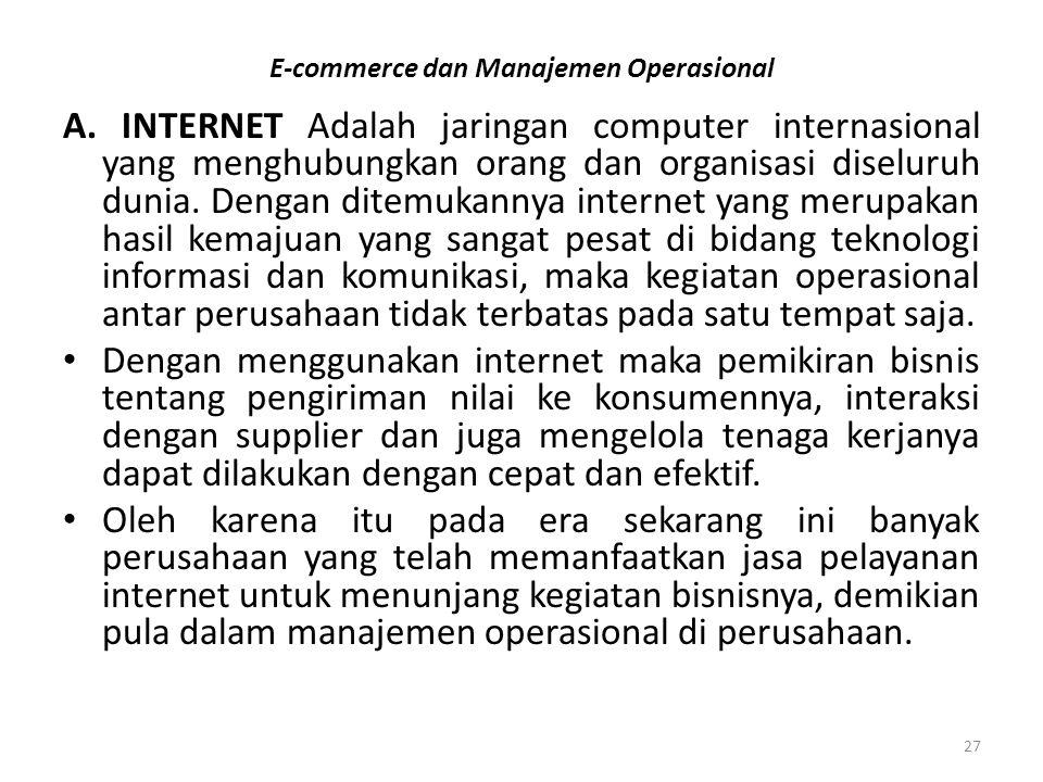 E-commerce dan Manajemen Operasional A. INTERNET Adalah jaringan computer internasional yang menghubungkan orang dan organisasi diseluruh dunia. Denga