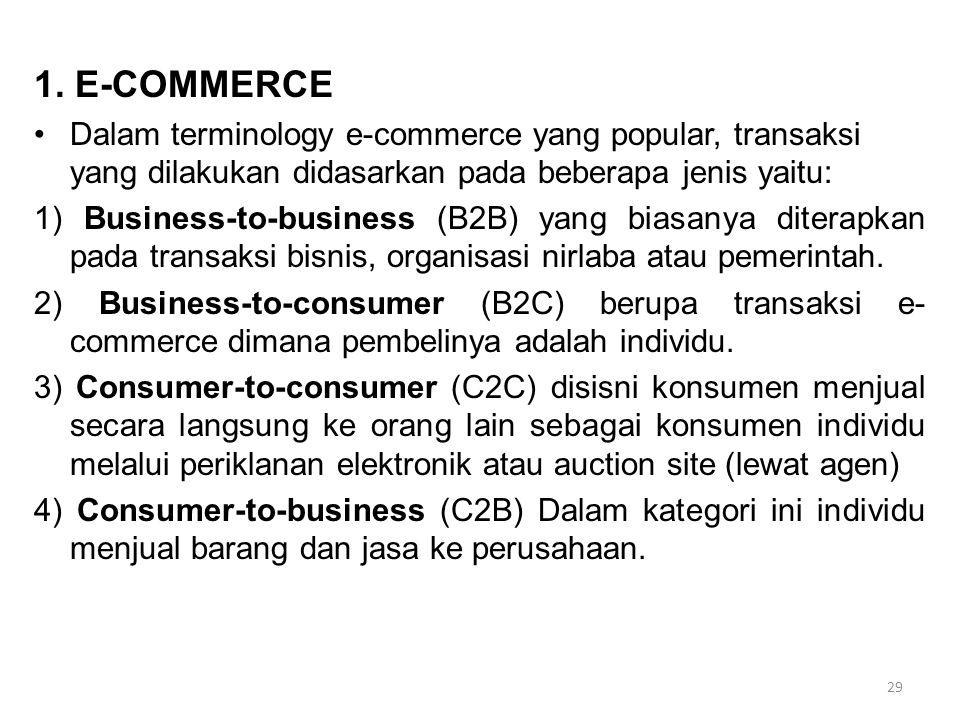 1. E-COMMERCE Dalam terminology e-commerce yang popular, transaksi yang dilakukan didasarkan pada beberapa jenis yaitu: 1) Business-to-business (B2B)