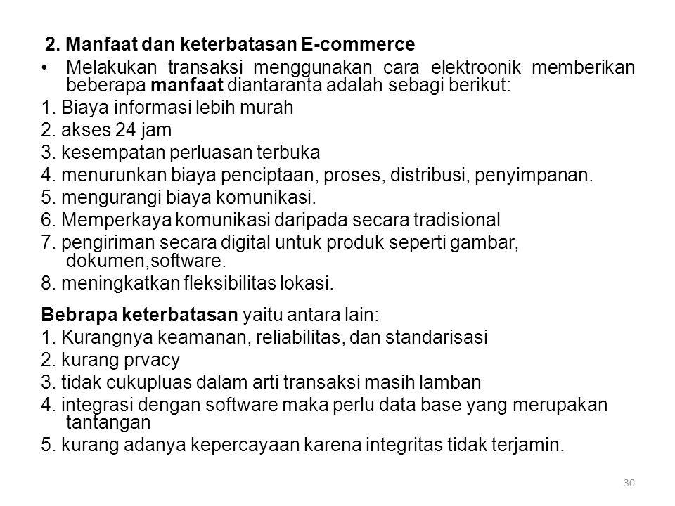2. Manfaat dan keterbatasan E-commerce Melakukan transaksi menggunakan cara elektroonik memberikan beberapa manfaat diantaranta adalah sebagi berikut: