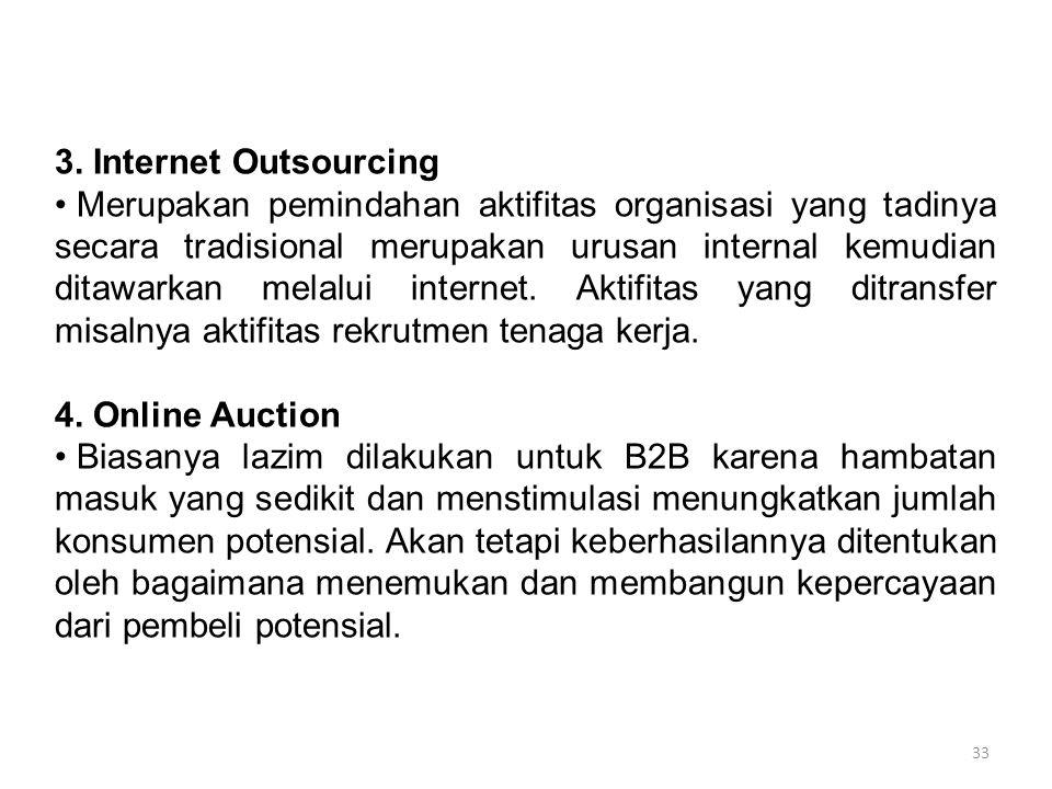 33 3. Internet Outsourcing Merupakan pemindahan aktifitas organisasi yang tadinya secara tradisional merupakan urusan internal kemudian ditawarkan mel