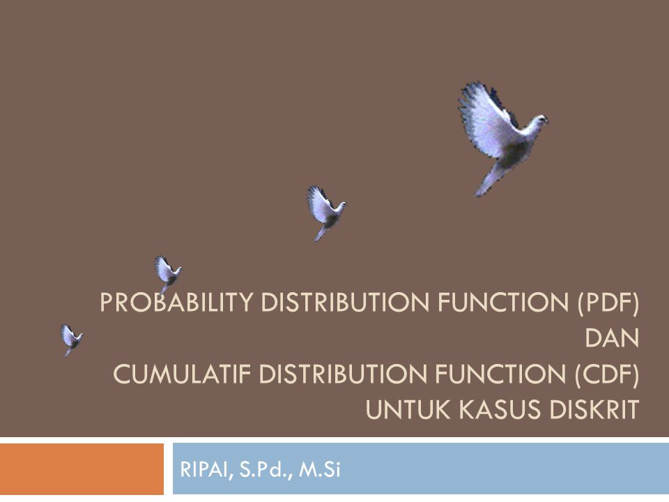 PROBABILITY DISTRIBUTION FUNCTION (PDF) DAN CUMULATIF DISTRIBUTION FUNCTION (CDF) UNTUK KASUS DISKRIT RIPAI, S.Pd., M.Si