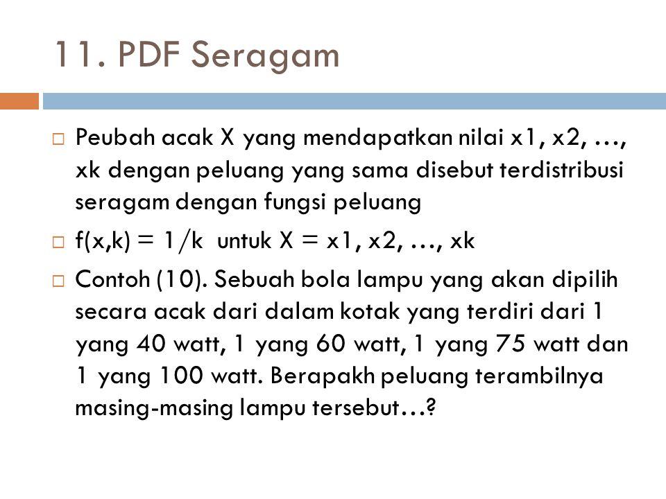 11. PDF Seragam  Peubah acak X yang mendapatkan nilai x1, x2, …, xk dengan peluang yang sama disebut terdistribusi seragam dengan fungsi peluang  f(