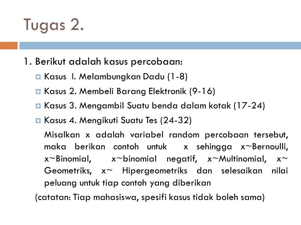 Tugas 2. 1. Berikut adalah kasus percobaan:  Kasus I. Melambungkan Dadu (1-8)  Kasus 2. Membeli Barang Elektronik (9-16)  Kasus 3. Mengambil Suatu