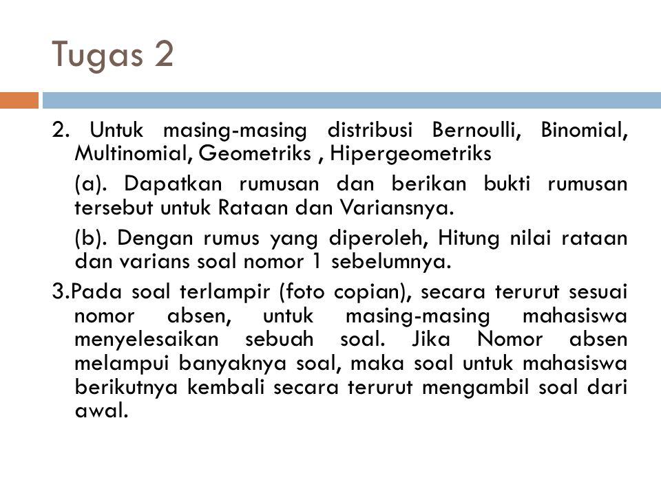 Tugas 2 2. Untuk masing-masing distribusi Bernoulli, Binomial, Multinomial, Geometriks, Hipergeometriks (a). Dapatkan rumusan dan berikan bukti rumusa