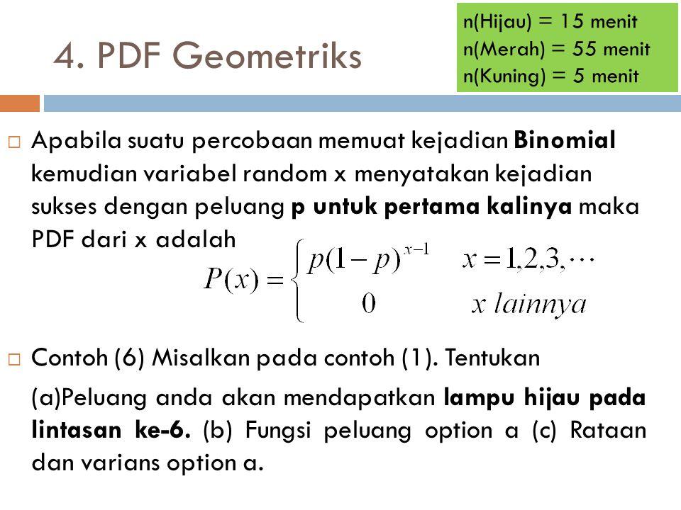 4. PDF Geometriks  Apabila suatu percobaan memuat kejadian Binomial kemudian variabel random x menyatakan kejadian sukses dengan peluang p untuk pert