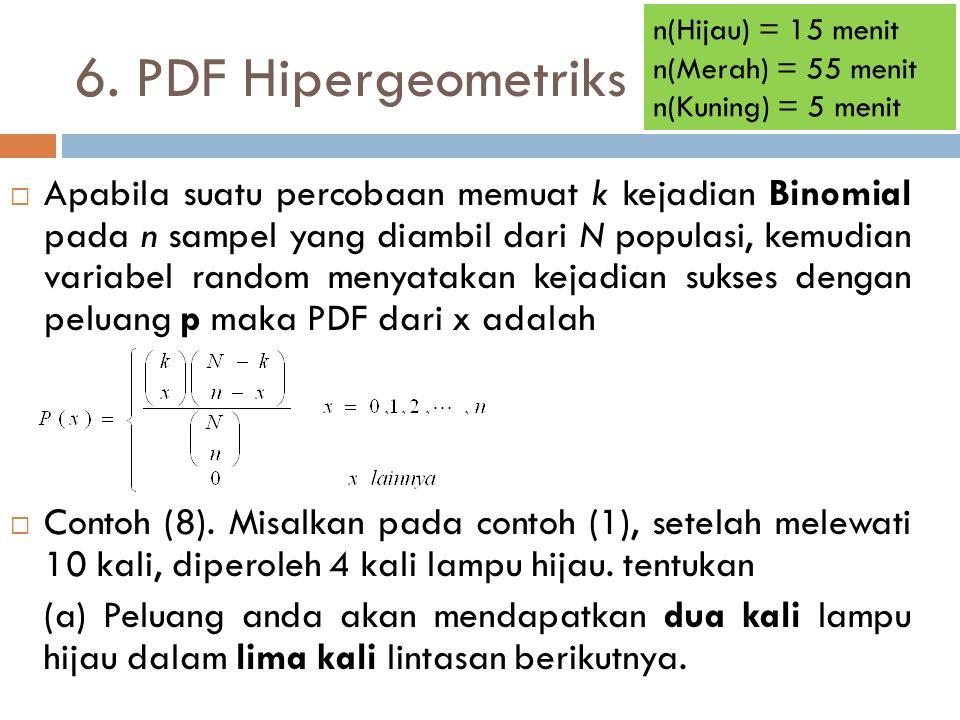 6. PDF Hipergeometriks  Apabila suatu percobaan memuat k kejadian Binomial pada n sampel yang diambil dari N populasi, kemudian variabel random menya