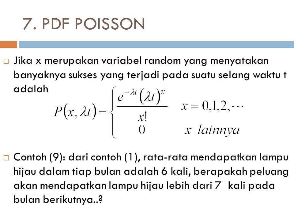 7. PDF POISSON  Jika x merupakan variabel random yang menyatakan banyaknya sukses yang terjadi pada suatu selang waktu t adalah  Contoh (9): dari co