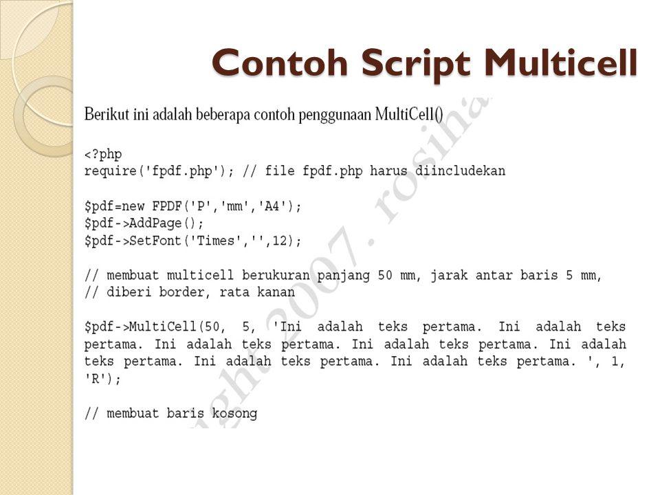 Contoh Script Multicell
