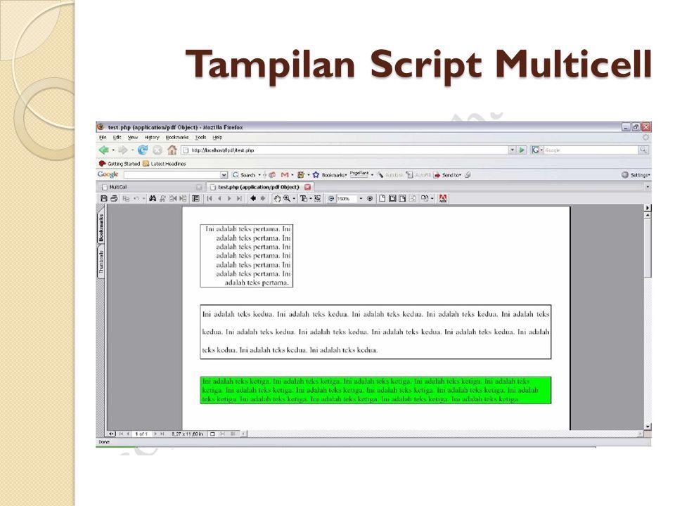 Tampilan Script Multicell